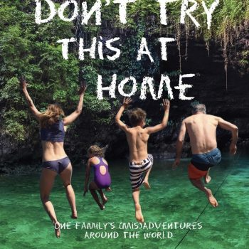 Family travelling, jumping into water