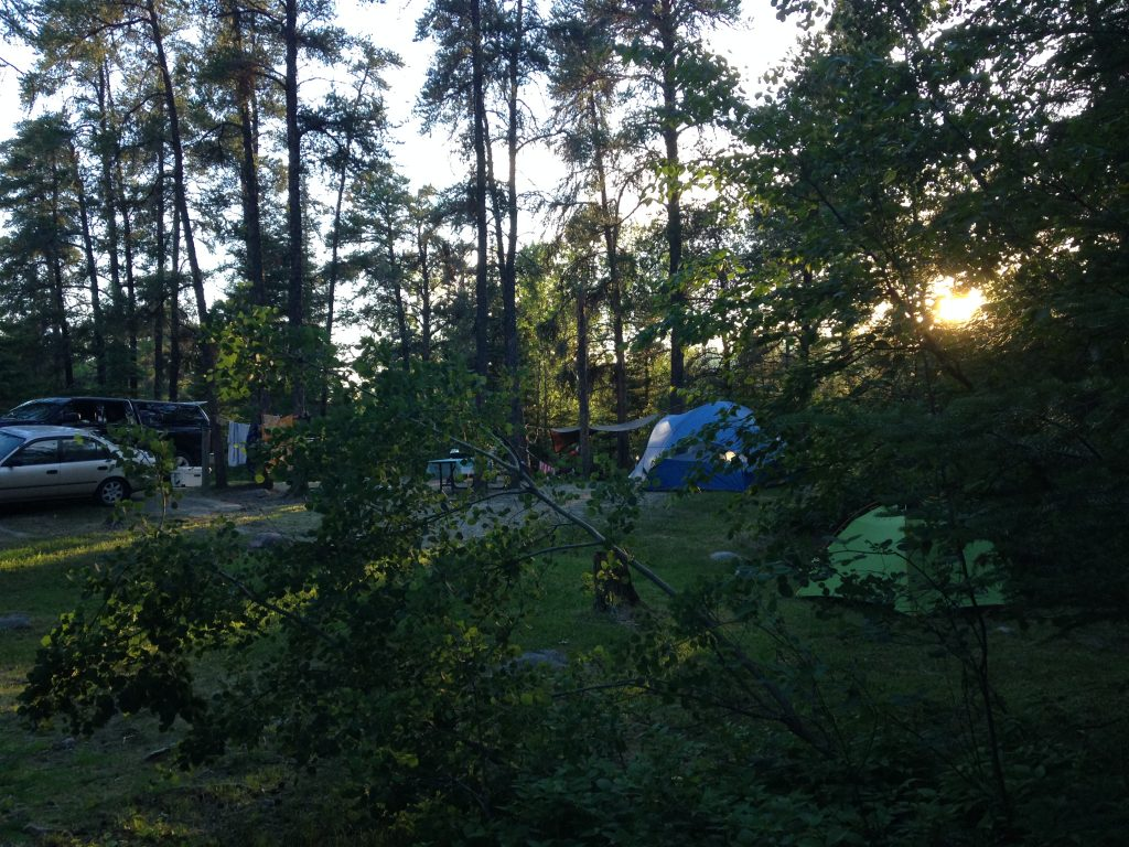 Camping, relax, rushing river, tent